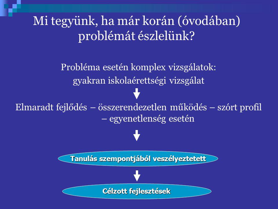 Probléma esetén komplex vizsgálatok: gyakran iskolaérettségi vizsgálat Elmaradt fejlődés – összerendezetlen működés – szórt profil – egyenetlenség ese