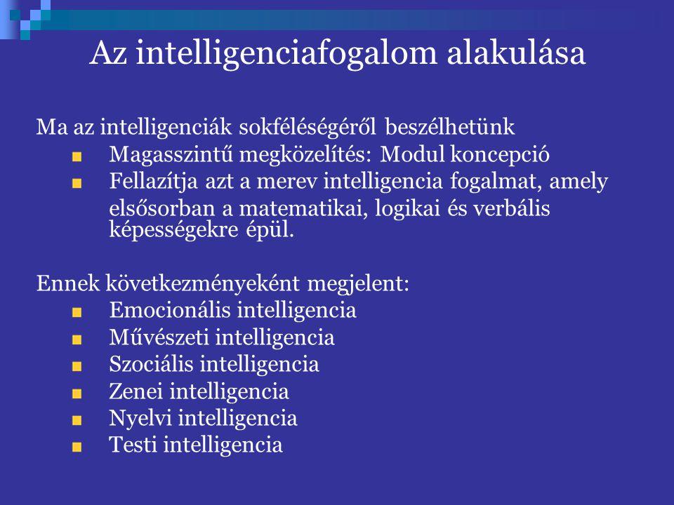 Az intelligenciafogalom alakulása Ma az intelligenciák sokféléségéről beszélhetünk Magasszintű megközelítés: Modul koncepció Fellazítja azt a merev in