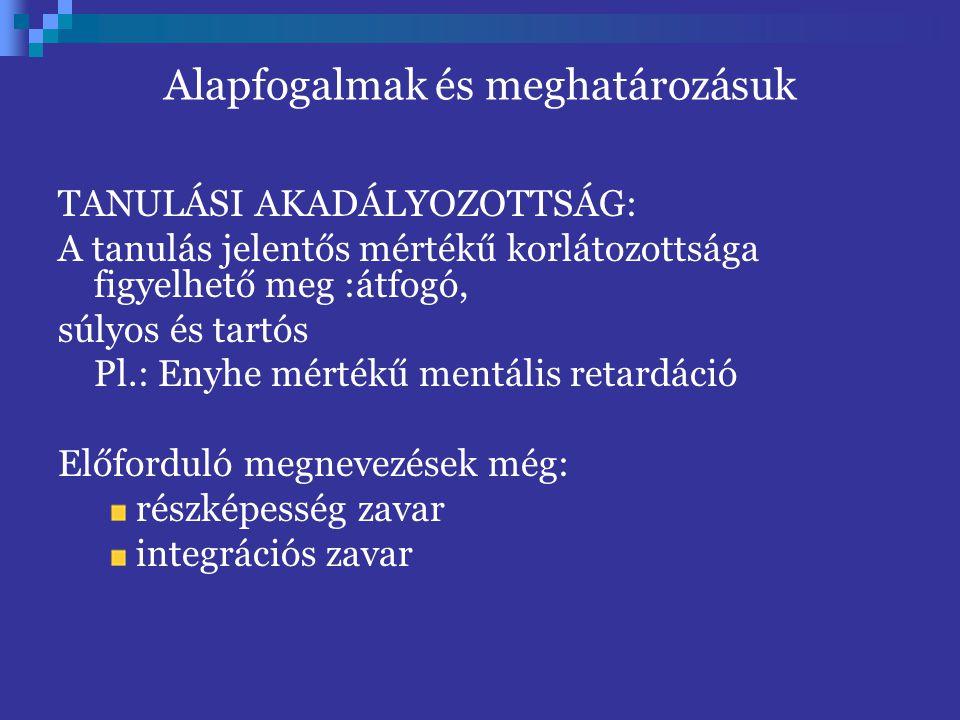 Alapfogalmak és meghatározásuk TANULÁSI AKADÁLYOZOTTSÁG: A tanulás jelentős mértékű korlátozottsága figyelhető meg :átfogó, súlyos és tartós Pl.: Enyh