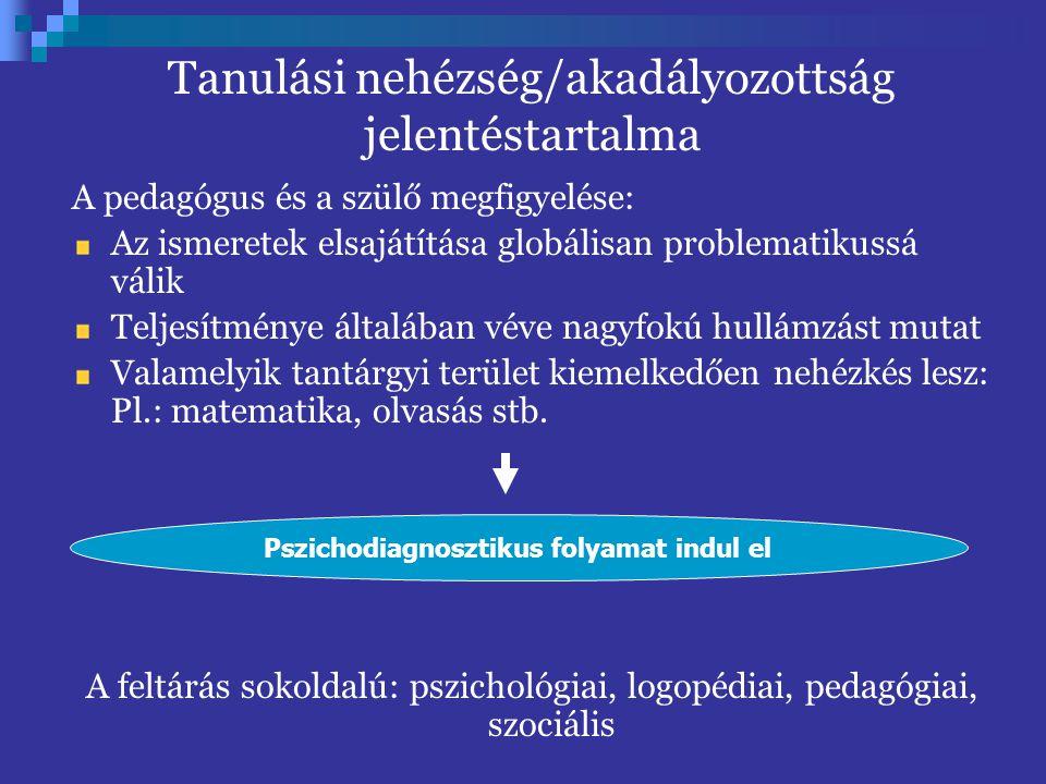 A pedagógus és a szülő megfigyelése: Az ismeretek elsajátítása globálisan problematikussá válik Teljesítménye általában véve nagyfokú hullámzást mutat