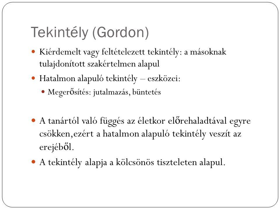 Tekintély (Gordon) Kiérdemelt vagy feltételezett tekintély: a másoknak tulajdonított szakértelmen alapul Hatalmon alapuló tekintély – eszközei: Meger