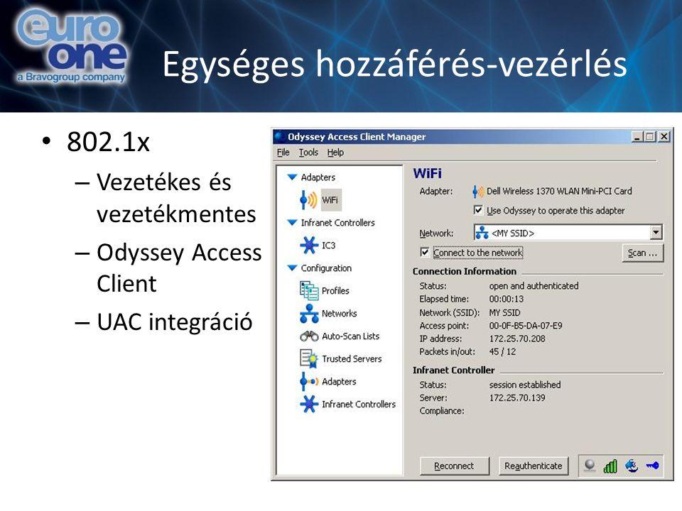 Egységes hozzáférés-vezérlés 802.1x – Vezetékes és vezetékmentes – Odyssey Access Client – UAC integráció