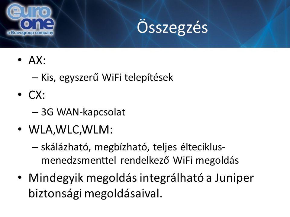 Összegzés AX: – Kis, egyszerű WiFi telepítések CX: – 3G WAN-kapcsolat WLA,WLC,WLM: – skálázható, megbízható, teljes élteciklus- menedzsmenttel rendelkező WiFi megoldás Mindegyik megoldás integrálható a Juniper biztonsági megoldásaival.