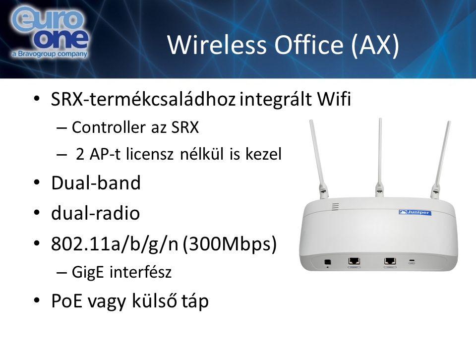 Wireless Office (AX) SRX-termékcsaládhoz integrált Wifi – Controller az SRX – 2 AP-t licensz nélkül is kezel Dual-band dual-radio 802.11a/b/g/n (300Mbps) – GigE interfész PoE vagy külső táp