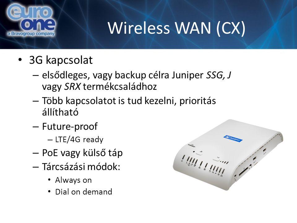 Wireless WAN (CX) 3G kapcsolat – elsődleges, vagy backup célra Juniper SSG, J vagy SRX termékcsaládhoz – Több kapcsolatot is tud kezelni, prioritás állítható – Future-proof – LTE/4G ready – PoE vagy külső táp – Tárcsázási módok: Always on Dial on demand
