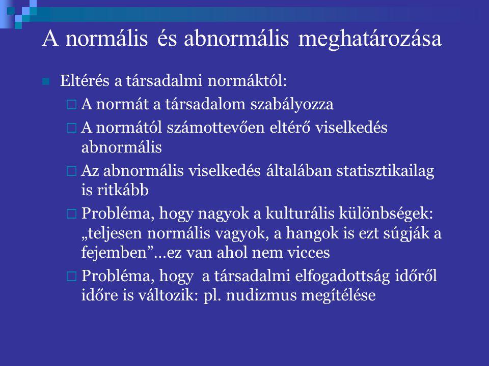 A normális és abnormális meghatározása Eltérés a társadalmi normáktól:  A normát a társadalom szabályozza  A normától számottevően eltérő viselkedés