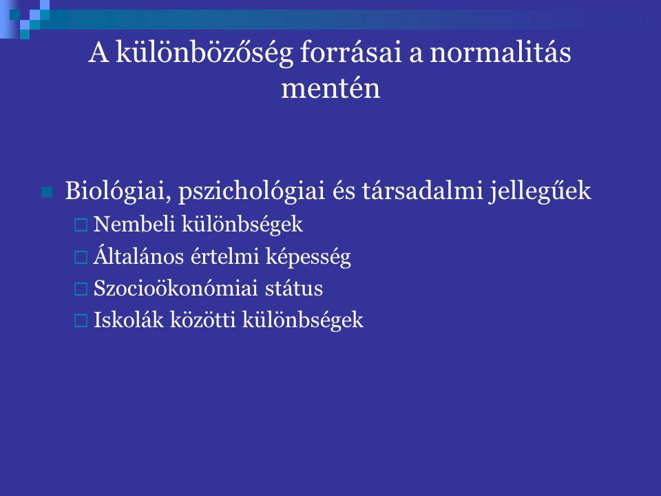 A különbözőség forrásai a normalitás mentén Biológiai, pszichológiai és társadalmi jellegűek  Nembeli különbségek  Általános értelmi képesség  Szoc