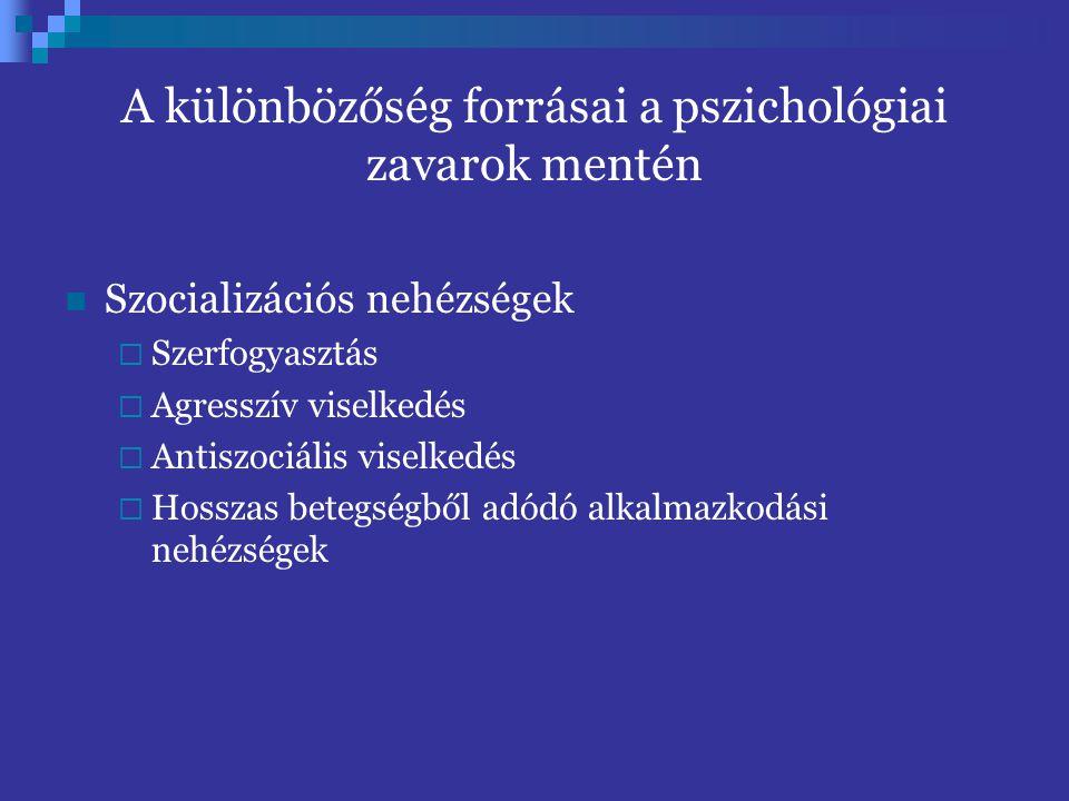 A különbözőség forrásai a pszichológiai zavarok mentén Szocializációs nehézségek  Szerfogyasztás  Agresszív viselkedés  Antiszociális viselkedés 