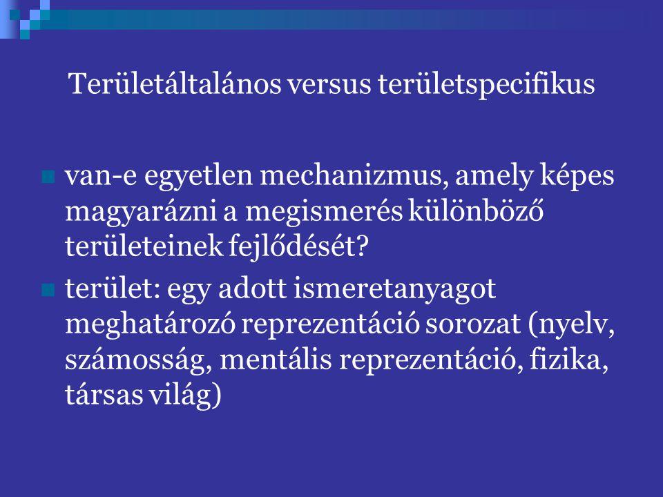 Területáltalános versus területspecifikus van-e egyetlen mechanizmus, amely képes magyarázni a megismerés különböző területeinek fejlődését? terület: