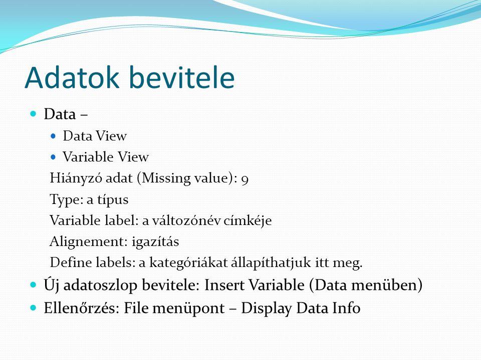 Adatok bevitele Data – Data View Variable View Hiányzó adat (Missing value): 9 Type: a típus Variable label: a változónév címkéje Alignement: igazítás