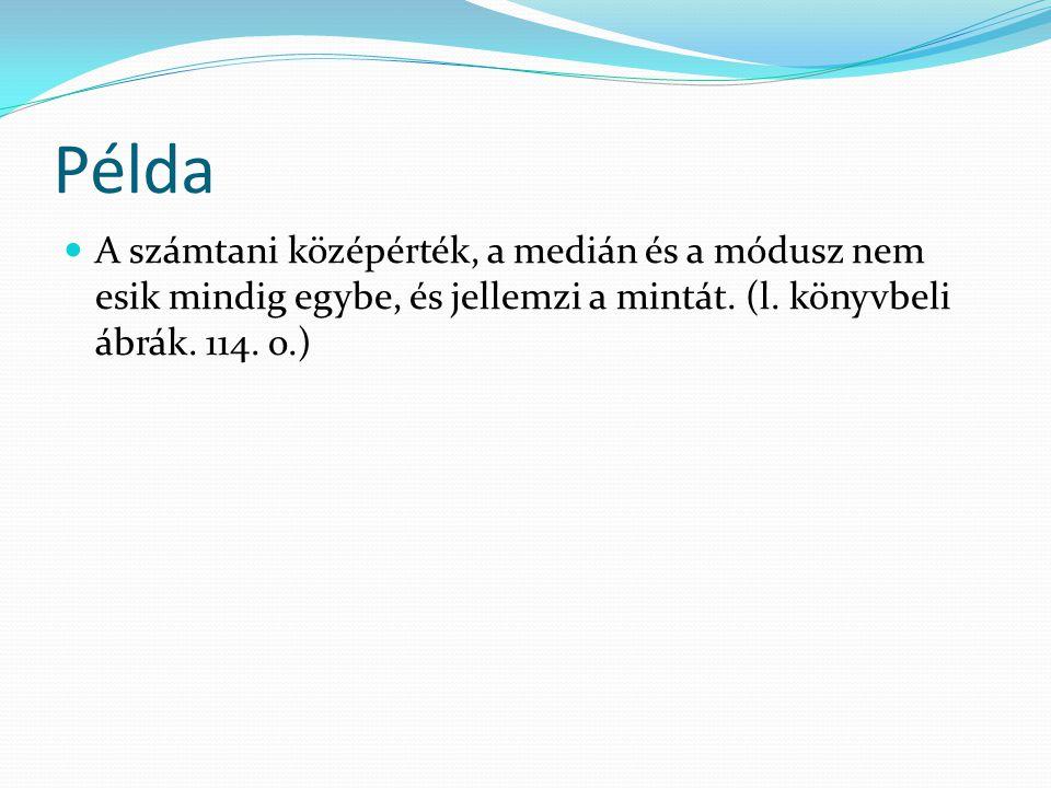 Példa A számtani középérték, a medián és a módusz nem esik mindig egybe, és jellemzi a mintát. (l. könyvbeli ábrák. 114. o.)