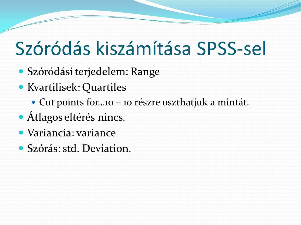 Szóródás kiszámítása SPSS-sel Szóródási terjedelem: Range Kvartilisek: Quartiles Cut points for…10 – 10 részre oszthatjuk a mintát. Átlagos eltérés ni