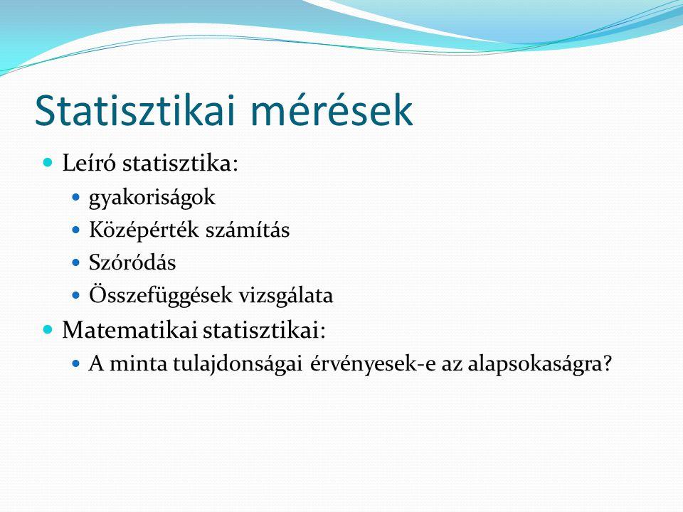 Statisztikai mérések Leíró statisztika: gyakoriságok Középérték számítás Szóródás Összefüggések vizsgálata Matematikai statisztikai: A minta tulajdons