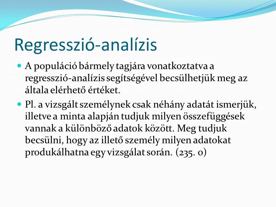 Regresszió-analízis A populáció bármely tagjára vonatkoztatva a regresszió-analízis segítségével becsülhetjük meg az általa elérhető értéket. Pl. a vi