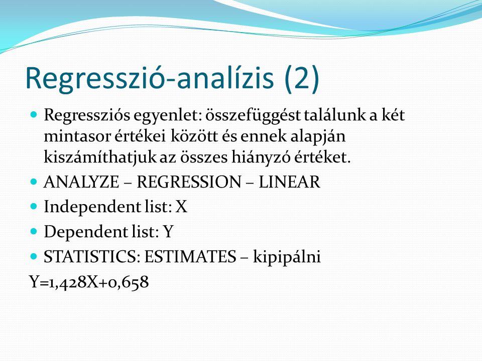 Regresszió-analízis (2) Regressziós egyenlet: összefüggést találunk a két mintasor értékei között és ennek alapján kiszámíthatjuk az összes hiányzó ér