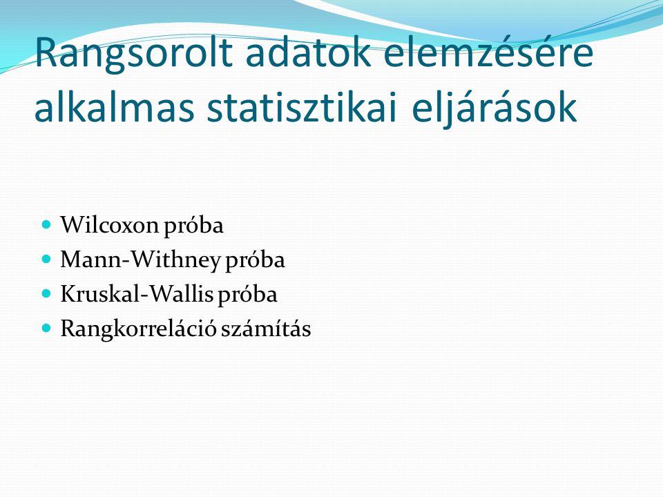 Rangsorolt adatok elemzésére alkalmas statisztikai eljárások Wilcoxon próba Mann-Withney próba Kruskal-Wallis próba Rangkorreláció számítás