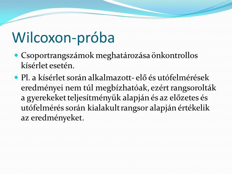 Wilcoxon-próba Csoportrangszámok meghatározása önkontrollos kísérlet esetén. Pl. a kísérlet során alkalmazott- elő és utófelmérések eredményei nem túl