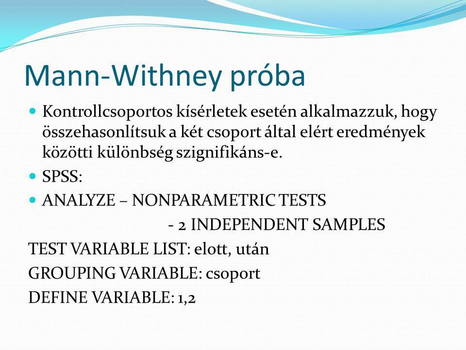 Mann-Withney próba Kontrollcsoportos kísérletek esetén alkalmazzuk, hogy összehasonlítsuk a két csoport által elért eredmények közötti különbség szign
