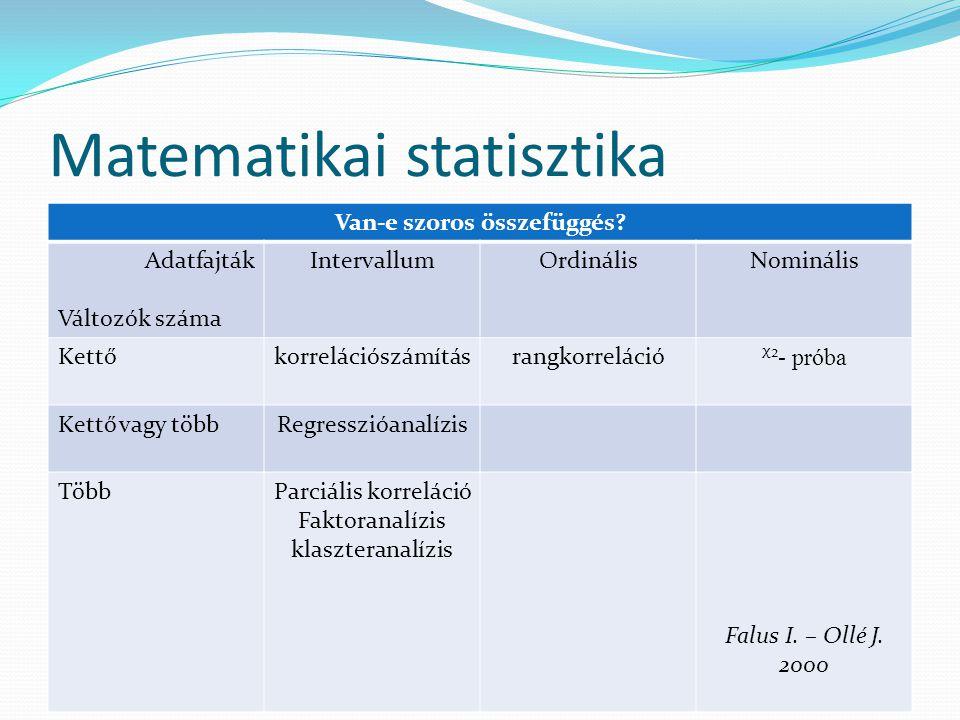 Kruskal-Wallis próba Több minta esetén akarjuk ellenőrizni, hogy az elért eredmények közötti különbségek szignifikánsak-e.
