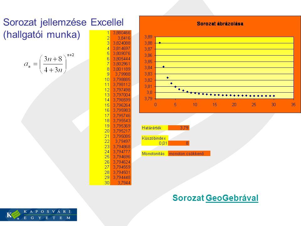 Sorozat jellemzése Excellel (hallgatói munka) Sorozat GeoGebrávalGeoGebrával