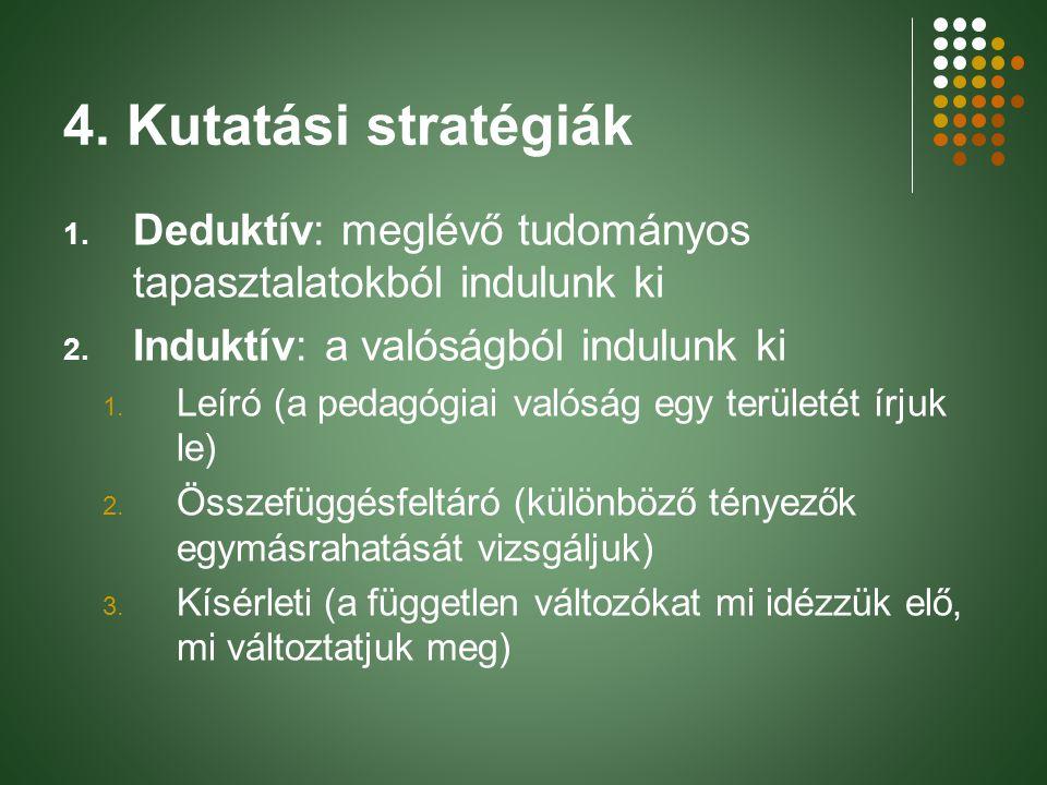 4. Kutatási stratégiák 1. Deduktív: meglévő tudományos tapasztalatokból indulunk ki 2. Induktív: a valóságból indulunk ki 1. Leíró (a pedagógiai valós