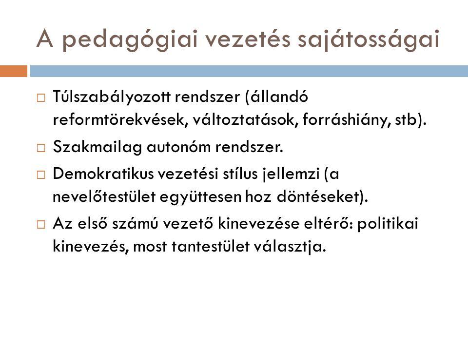 A pedagógiai vezetés sajátosságai  Túlszabályozott rendszer (állandó reformtörekvések, változtatások, forráshiány, stb).  Szakmailag autonóm rendsze