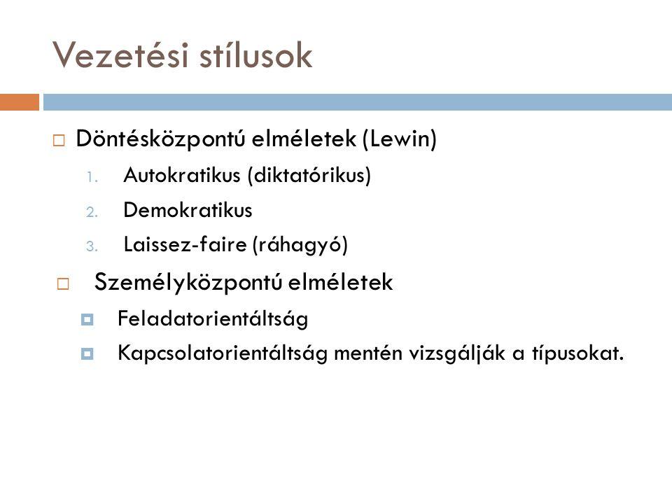 Vezetési stílusok  Döntésközpontú elméletek (Lewin) 1. Autokratikus (diktatórikus) 2. Demokratikus 3. Laissez-faire (ráhagyó)  Személyközpontú elmél