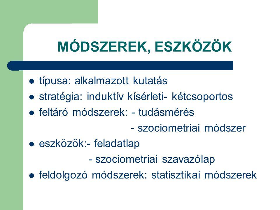 MÓDSZEREK, ESZKÖZÖK típusa: alkalmazott kutatás stratégia: induktív kísérleti- kétcsoportos feltáró módszerek: - tudásmérés - szociometriai módszer es