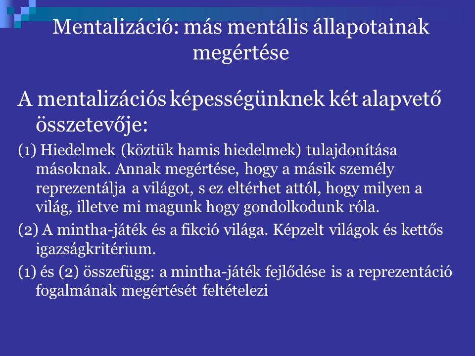 Mentalizáció: más mentális állapotainak megértése A mentalizációs képességünknek két alapvető összetevője: (1) Hiedelmek (köztük hamis hiedelmek) tulajdonítása másoknak.