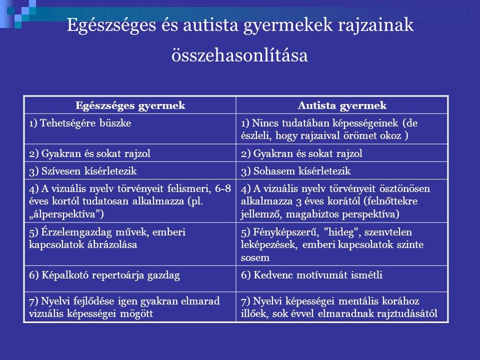Egészséges és autista gyermekek rajzainak összehasonlítása Egészséges gyermekAutista gyermek 1) Tehetségére büszke1) Nincs tudatában képességeinek (de észleli, hogy rajzaival örömet okoz ) 2) Gyakran és sokat rajzol 3) Szívesen kísérletezik3) Sohasem kísérletezik 4) A vizuális nyelv törvényeit felismeri, 6-8 éves kortól tudatosan alkalmazza (pl.