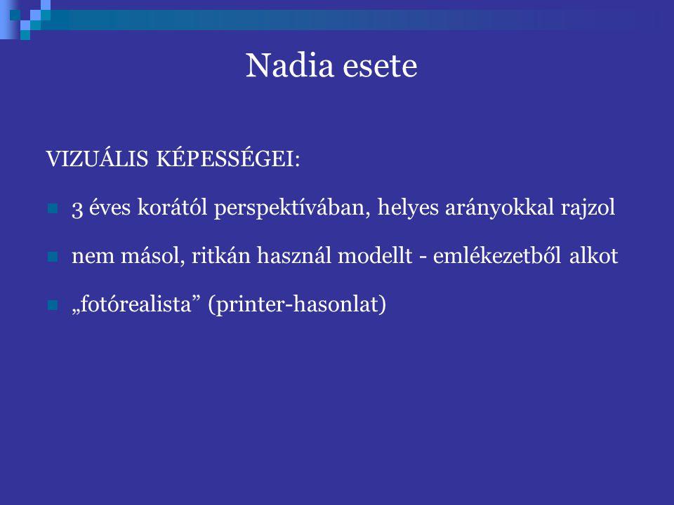"""Nadia esete VIZUÁLIS KÉPESSÉGEI: 3 éves korától perspektívában, helyes arányokkal rajzol nem másol, ritkán használ modellt - emlékezetből alkot """"fotórealista (printer-hasonlat)"""