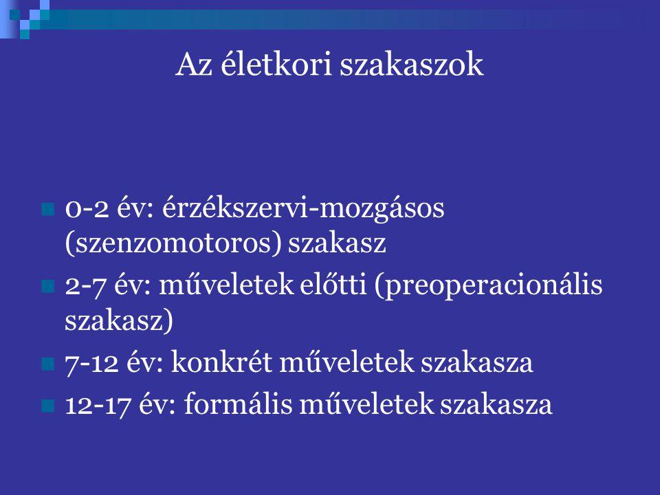 0-2 év: érzékszervi-mozgásos (szenzomotoros) szakasz 2-7 év: műveletek előtti (preoperacionális szakasz) 7-12 év: konkrét műveletek szakasza 12-17 év: formális műveletek szakasza