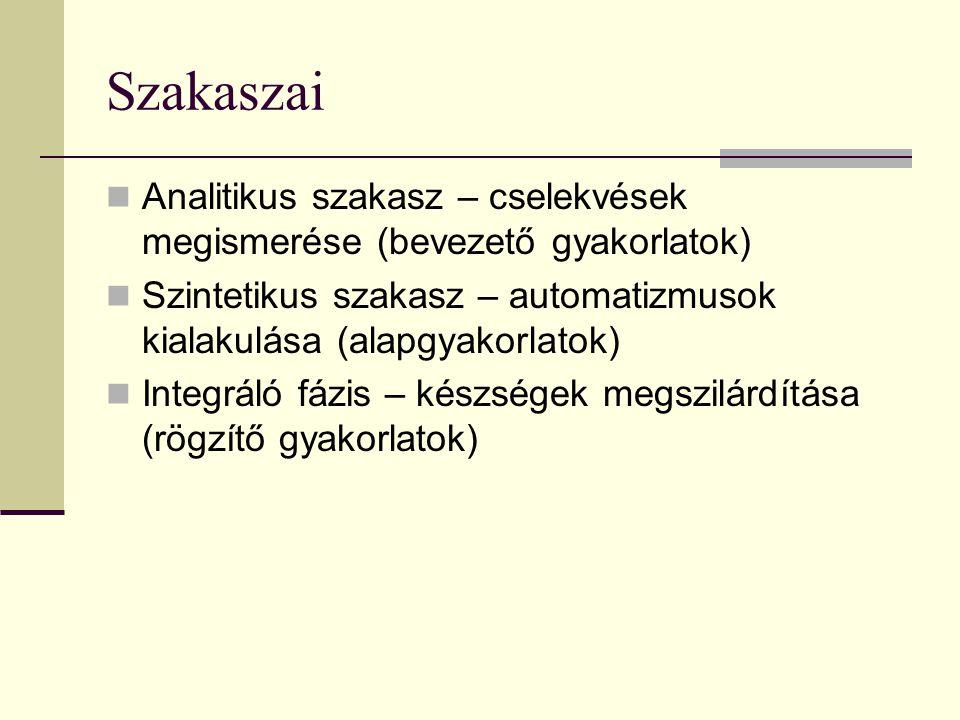 Szakaszai Analitikus szakasz – cselekvések megismerése (bevezető gyakorlatok) Szintetikus szakasz – automatizmusok kialakulása (alapgyakorlatok) Integ