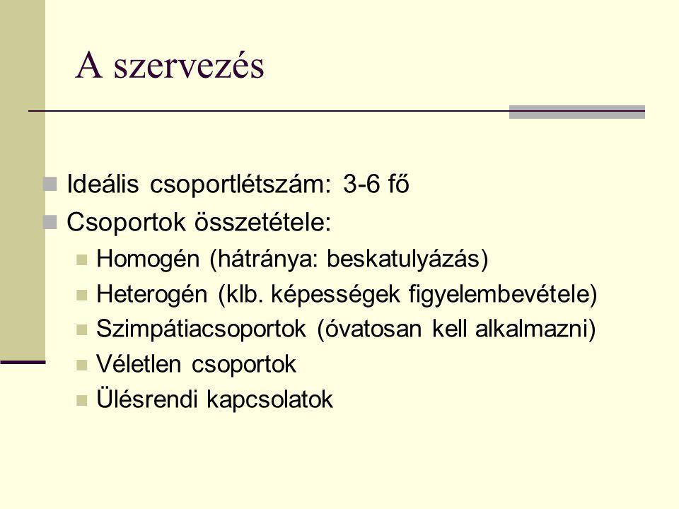A szervezés Ideális csoportlétszám: 3-6 fő Csoportok összetétele: Homogén (hátránya: beskatulyázás) Heterogén (klb. képességek figyelembevétele) Szimp