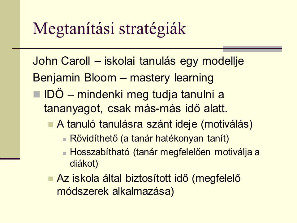 Megtanítási stratégiák John Caroll – iskolai tanulás egy modellje Benjamin Bloom – mastery learning IDŐ – mindenki meg tudja tanulni a tananyagot, csa