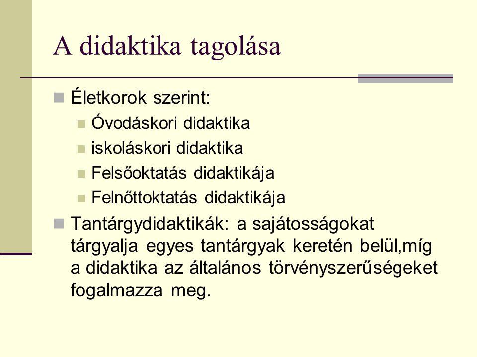 A didaktika tagolása Életkorok szerint: Óvodáskori didaktika iskoláskori didaktika Felsőoktatás didaktikája Felnőttoktatás didaktikája Tantárgydidakti