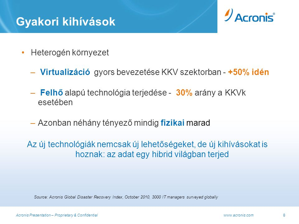 Acronis Presentation – Proprietary & Confidential www.acronis.com9 A hibrid világ kihívásai Source: Acronis Global Disaster Recovery Index, October 2010, 3000 IT managers surveyed globally; top 3 options out of 10 answers