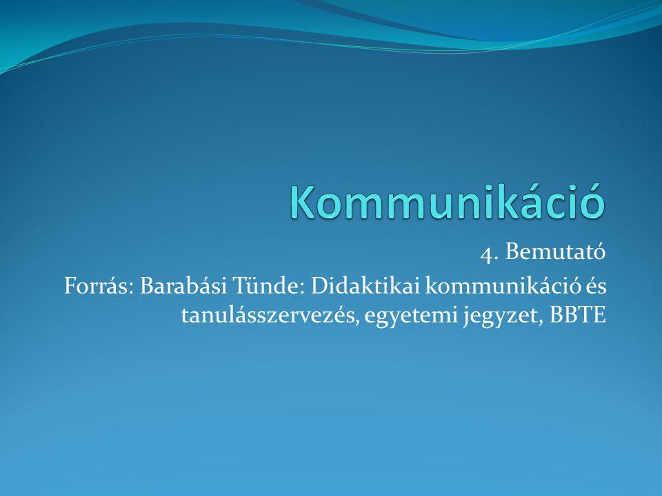 4. Bemutató Forrás: Barabási Tünde: Didaktikai kommunikáció és tanulásszervezés, egyetemi jegyzet, BBTE