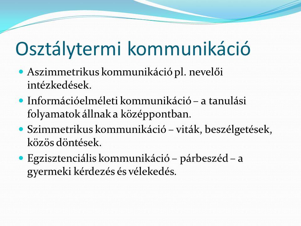 Osztálytermi kommunikáció Aszimmetrikus kommunikáció pl.