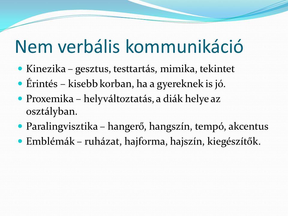Nem verbális kommunikáció Kinezika – gesztus, testtartás, mimika, tekintet Érintés – kisebb korban, ha a gyereknek is jó.