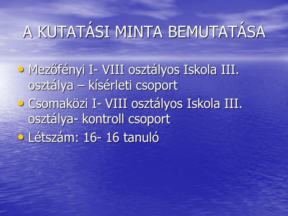 A KUTATÁSI MINTA BEMUTATÁSA Mezőfényi I- VIII osztályos Iskola III.