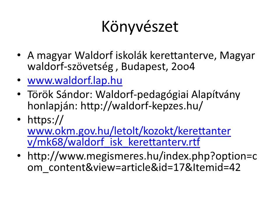 Könyvészet A magyar Waldorf iskolák kerettanterve, Magyar waldorf-szövetség, Budapest, 2oo4 www.waldorf.lap.hu Török Sándor: Waldorf-pedagógiai Alapítvány honlapján: http://waldorf-kepzes.hu/ https:// www.okm.gov.hu/letolt/kozokt/kerettanter v/mk68/waldorf_isk_kerettanterv.rtf www.okm.gov.hu/letolt/kozokt/kerettanter v/mk68/waldorf_isk_kerettanterv.rtf http://www.megismeres.hu/index.php?option=c om_content&view=article&id=17&Itemid=42