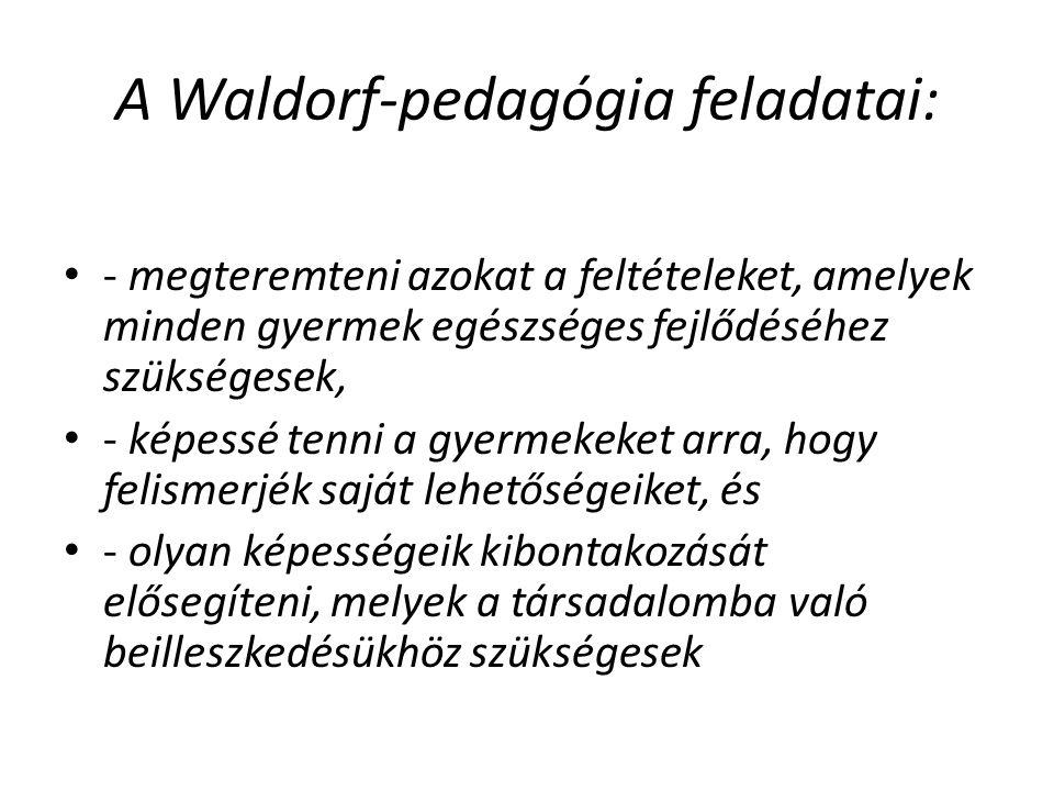 A Waldorf-pedagógia feladatai: - megteremteni azokat a feltételeket, amelyek minden gyermek egészséges fejlődéséhez szükségesek, - képessé tenni a gyermekeket arra, hogy felismerjék saját lehetőségeiket, és - olyan képességeik kibontakozását elősegíteni, melyek a társadalomba való beilleszkedésükhöz szükségesek