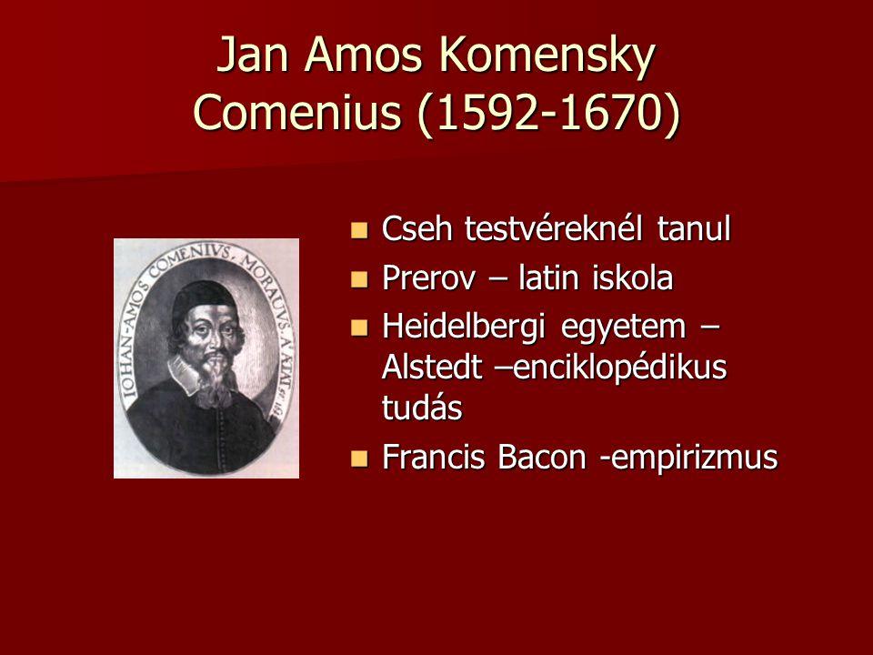 Jan Amos Komensky Comenius (1592-1670) Cseh testvéreknél tanul Cseh testvéreknél tanul Prerov – latin iskola Prerov – latin iskola Heidelbergi egyetem