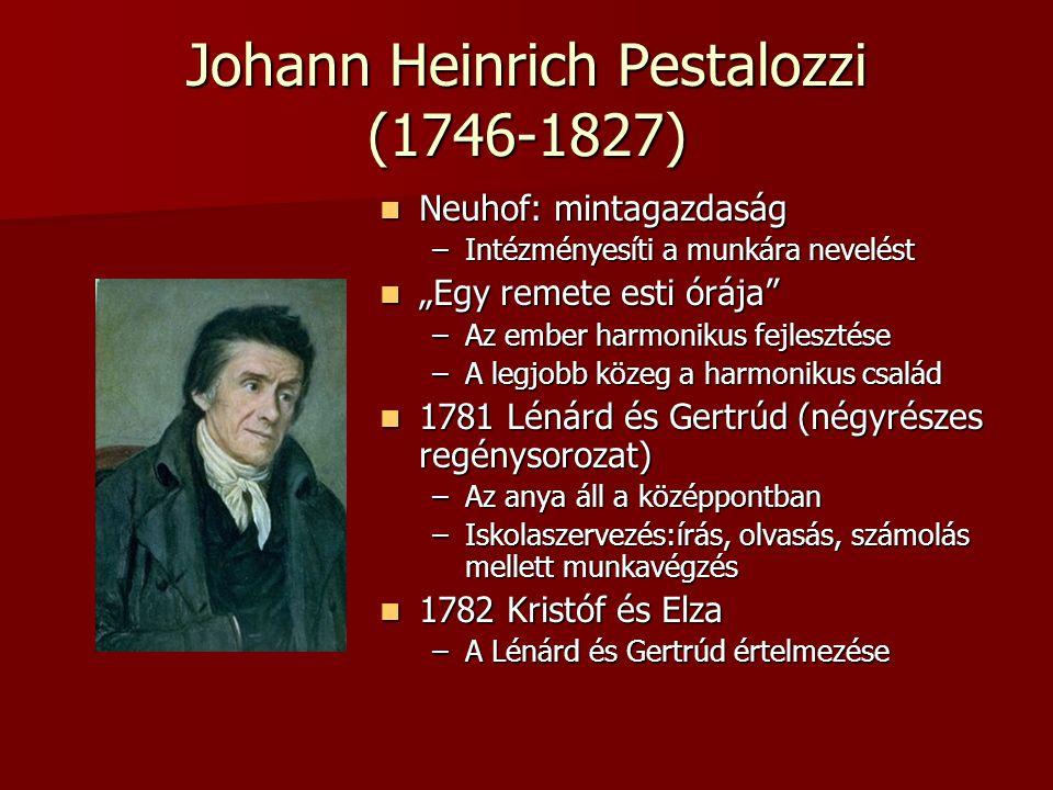 """Johann Heinrich Pestalozzi (1746-1827) Neuhof: mintagazdaság Neuhof: mintagazdaság –Intézményesíti a munkára nevelést """"Egy remete esti órája"""" """"Egy rem"""