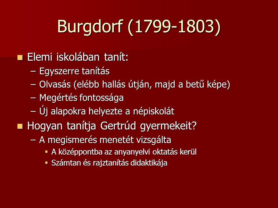 Burgdorf (1799-1803) Elemi iskolában tanít: Elemi iskolában tanít: –Egyszerre tanítás –Olvasás (elébb hallás útján, majd a betű képe) –Megértés fontos
