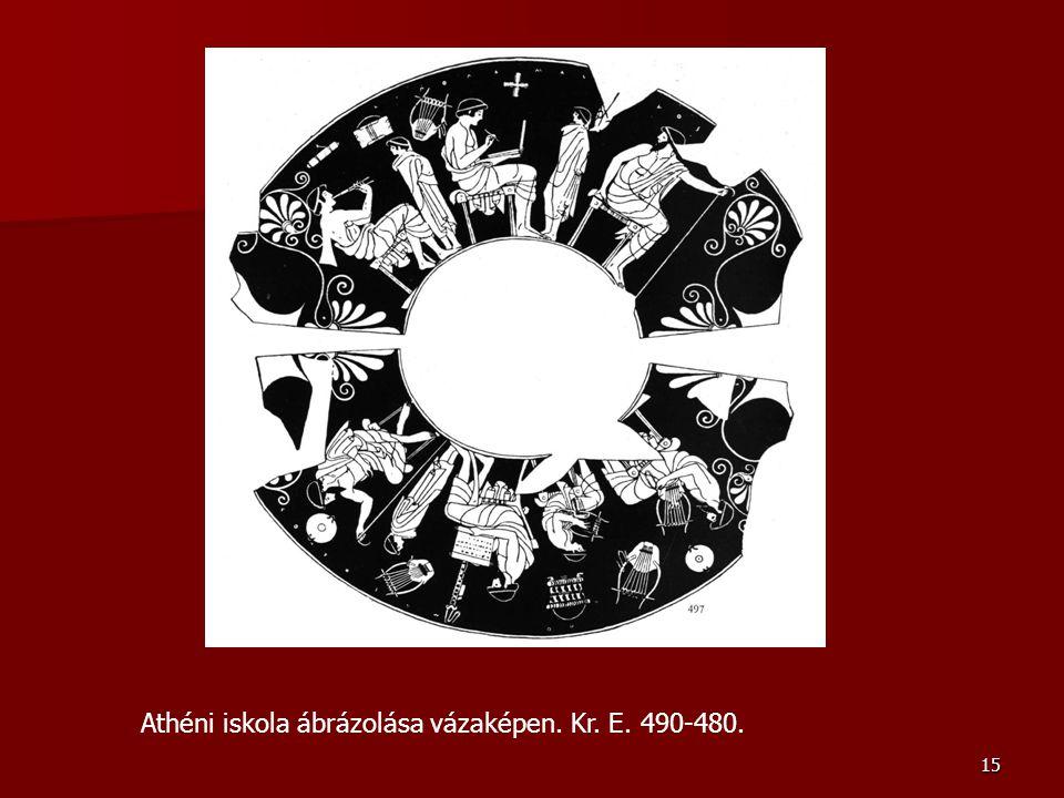 15 Athéni iskola ábrázolása vázaképen. Kr. E. 490-480.