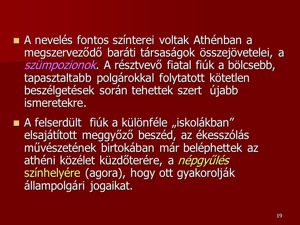 19 A nevelés fontos színterei voltak Athénban a megszerveződő baráti társaságok összejövetelei, a szümpozionok. A résztvevő fiatal fiúk a bölcsebb, ta