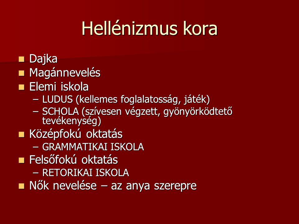 Hellénizmus kora Dajka Dajka Magánnevelés Magánnevelés Elemi iskola Elemi iskola –LUDUS (kellemes foglalatosság, játék) –SCHOLA (szívesen végzett, gyö
