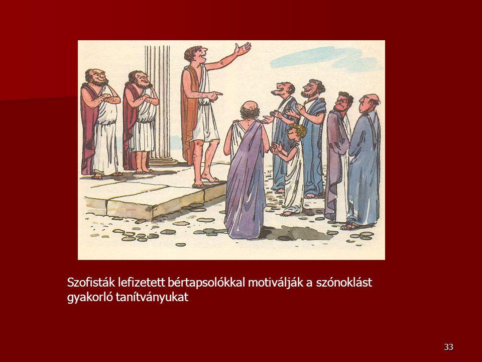 33 Szofisták lefizetett bértapsolókkal motiválják a szónoklást gyakorló tanítványukat